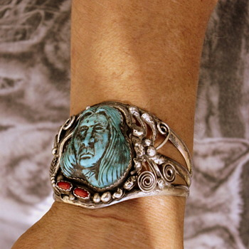 Native American Sterling Silver Men's Cuff Bracelet w/Turquoise Carved Face - Native American
