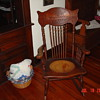 Early 1900's Antique Rocker With Hand Carved Ship In Headrest