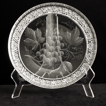"""Intaglio cut Low Bowl, in the """"Grape Pattern With Rosette Border"""", by Tuthill. - Glassware"""