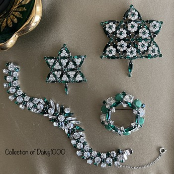 For Canada Day 2021 — Sherman Emerald Green Centennial Brooches, Bracelet - Costume Jewelry
