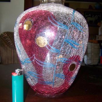 crackle glass vase - Art Glass