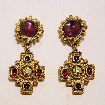 Vintage Charles Jourdan Paris Jeweled Cross Earrings.