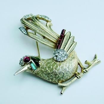 Crown Trifari Bird of Paradise or Roadrunner Brooch - Costume Jewelry