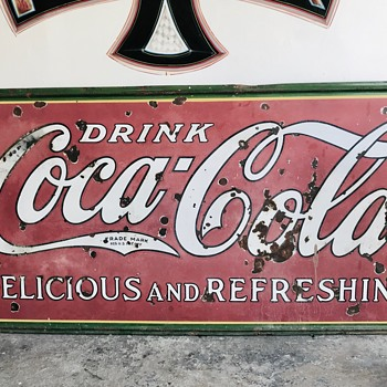 1932 Coca Cola Porcelain sign, one sided 4' x 8' before and after.... - Coca-Cola
