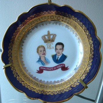 Limoges Royal Commemorative Plate; Princess Grace and Prince Rainer  - China and Dinnerware