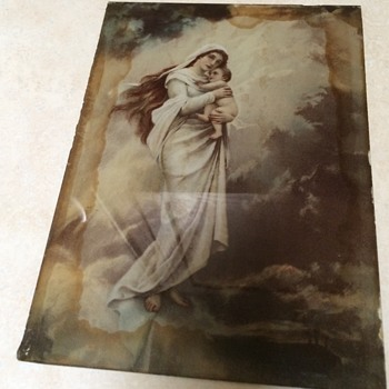 Saturday Rummage sale find painted on glass Madonna and child - Fine Art