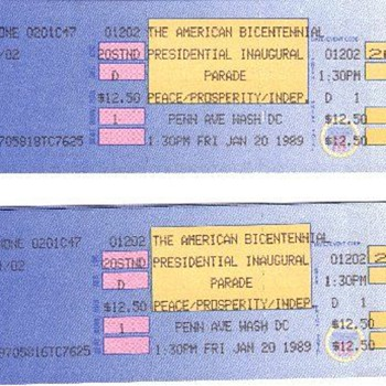 BUSH TICKETS TO BICENTENNIAL PARADE George H.W. Bush, 1989 | Inauguration of the President - Paper