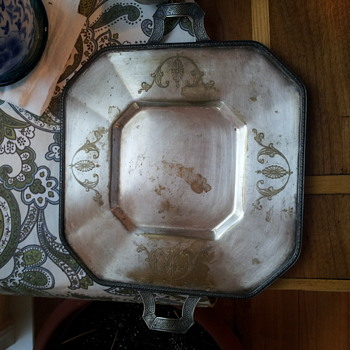 Silver tray with handles, interesting stamp on back of tray.