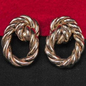 My Favorite Early England Rope Earrings Gold  - Costume Jewelry