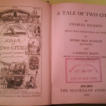 1927  Tale of Two Cities -Charles Dickens.....NYBOE Schoolbook  - Books