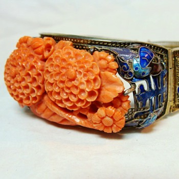 Chinese Coral and Enamel Bracelet - Fine Jewelry