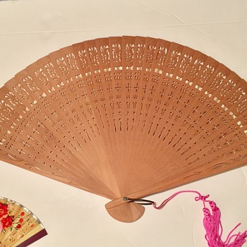 Antique Japanese Brise Hand Fan Uniquely Carved From 32 Pieces of Sandalwood - Accessories