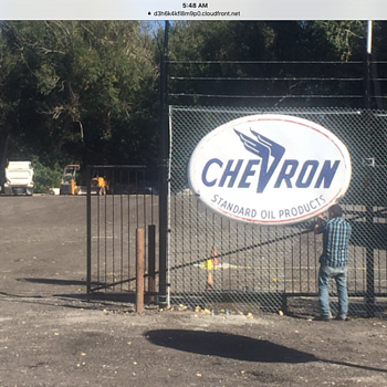 Chevron Neon Porcelain Sign - Petroliana