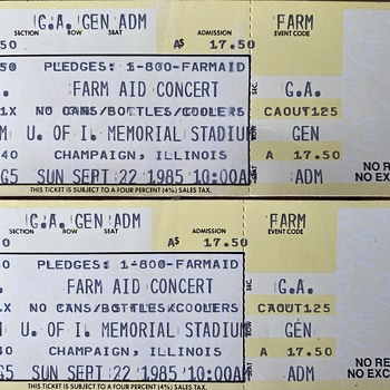 Farm Aid VERY 1st concert 1985 UNUSED TICKETS  - Paper