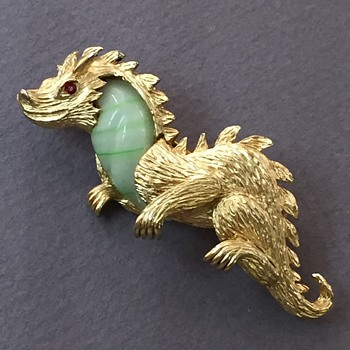 Marvella Jade Glass Jelly Belly Dragon Brooch with Red Rhinestone Eye and silly smile - Costume Jewelry