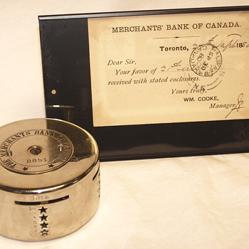 "Advertizing Steel Bank""The Merchant Bank Of Canada+Post Card""Late XIX Century"" - Coin Operated"