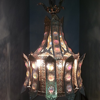 Aurora Borealis Crystals on Brass Hanging Light Fixture - Lamps