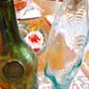 Glass bottles Italy,  Shark and wine!