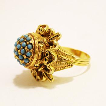 Vintage Florenza Turquoise Borgia Poison Ring - Costume Jewelry