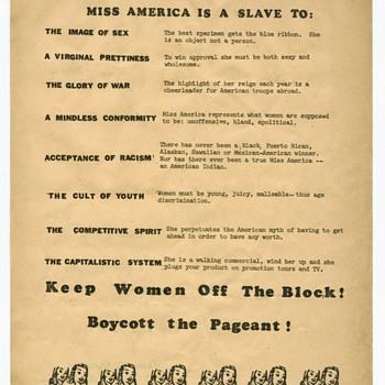 "Original 1968 Feminists Flier Protesting Miss America Pageant Atlantic City ~ ""Slavery Exists"" - Politics"