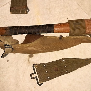 US Army Pick Axe Mattock With Web Belt and Canvas Carrier WWII - Military and Wartime