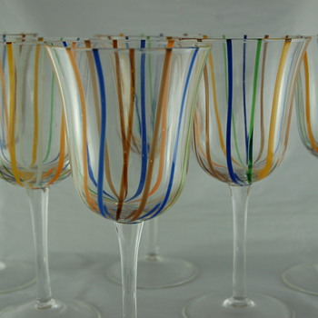 Set of Stemmed Art Glasses - Art Glass