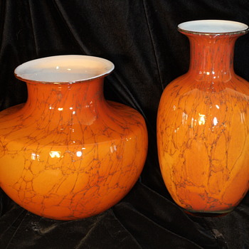 Pair of Glass Vases ~ Empoli Italy - Art Glass