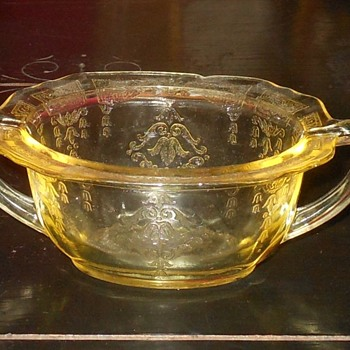 Depression Glass Sugar Bowl Hocking Glass Princess Pattern - Glassware