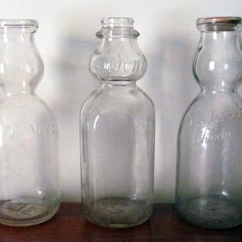 Old, creamer top milk bottles