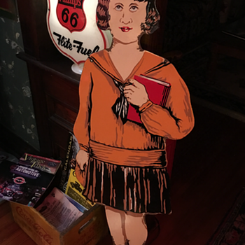 Porcelain Four Foot Tall Schoolgirl...Veribrite Signs-Chicago  - Signs