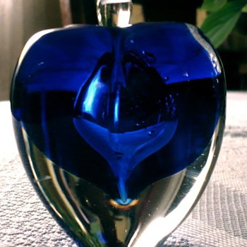 Unknown Blown Cobalt and Clear Perfume Bottle - Art Glass