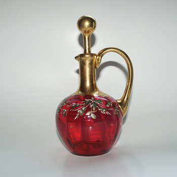 Cranberry Glass Cruet - Glassware