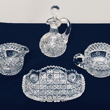American Brilliant Cut Glass Sugar Bowl & Creamer Intricate Unknown Pattern - Glassware