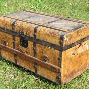 "1840's -50's 24"" Leather Stagecoach Trunk with Slats  - Furniture"