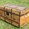 "1840's -50's 24"" Leather Stagecoach Trunk with Slats"
