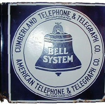 Cumberland Telephone & Telegraph Co. Porcelain Flange Sign