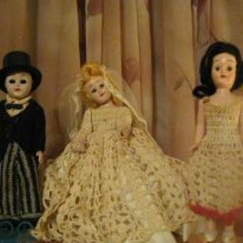 3 hard plastic 6'dolls