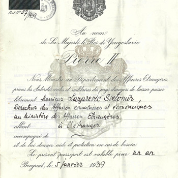 1939 & 1942 Yugoslavian Diplomatic passports  - Paper