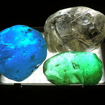 Glass Slag Rocks Stones Collectibles Translucent Backlighted Paperweights - Art Glass