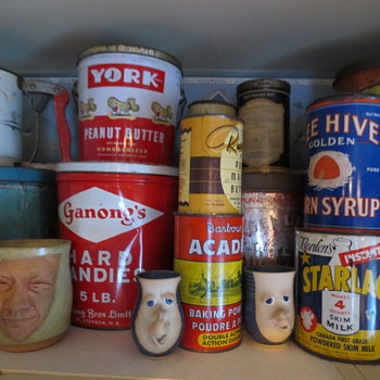 Vintage tins & pottery faces - Advertising