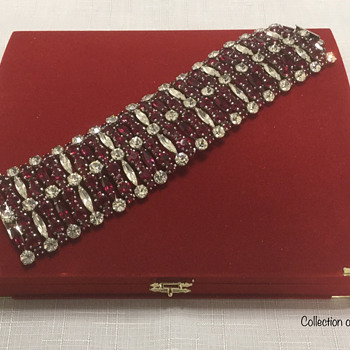 Sherman Siam Red & Clear Bracelet, Etc.  - Costume Jewelry