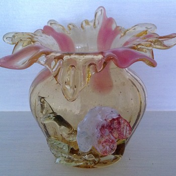 Victorian Bohemian glass vase with applied flower - Art Glass