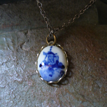 Blue Windmill Necklace - Costume Jewelry
