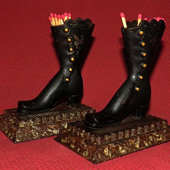 Antique Cast Iron Lady's Boot Match Holders With Striker Plates - Tobacciana