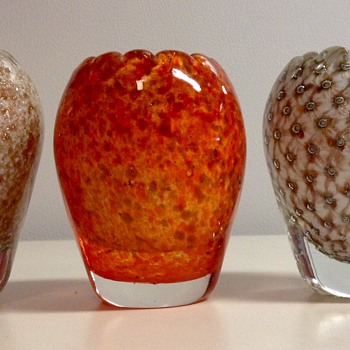 3 Murano Glass Lighter Holders by Alfedo Barbini  - Art Glass