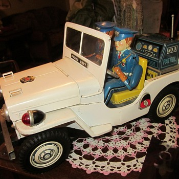 1950's Battery Operated Police Jeep, Japan...