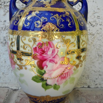 HAND PAINTED NIPPON FLOWER VASE - Asian