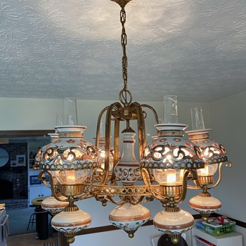 Six-arm chandelier painted ceramic shades - 1970s Anyone know anything about these? - Lamps