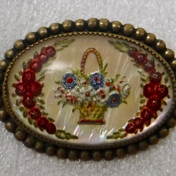 Bohemian Brooch Intaglio on Mother Of Pearl - Costume Jewelry