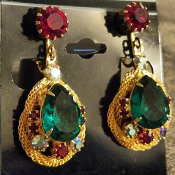 Rhinestone Earrings - Costume Jewelry